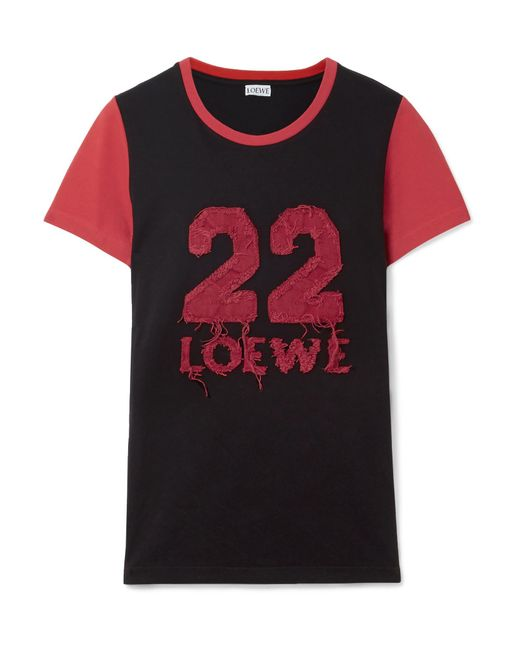 Loewe - Black Appliquéd Cotton-jersey T-shirt - Lyst