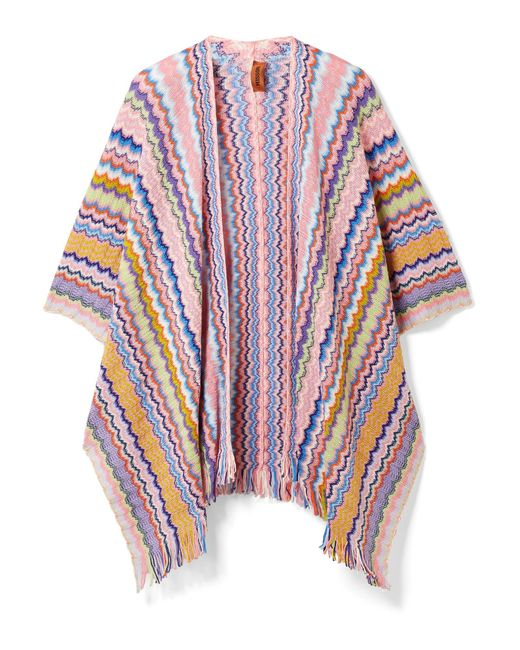 Missoni - Pink Fringed Crochet-knit Cotton Wrap - Lyst
