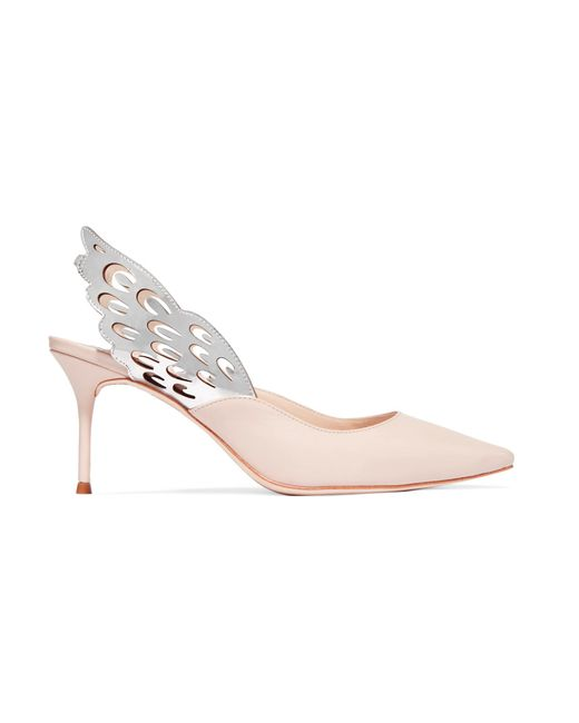 Sophia Webster - Pink Angelo Cutout Metallic-trimmed Leather Slingback Pumps - Lyst