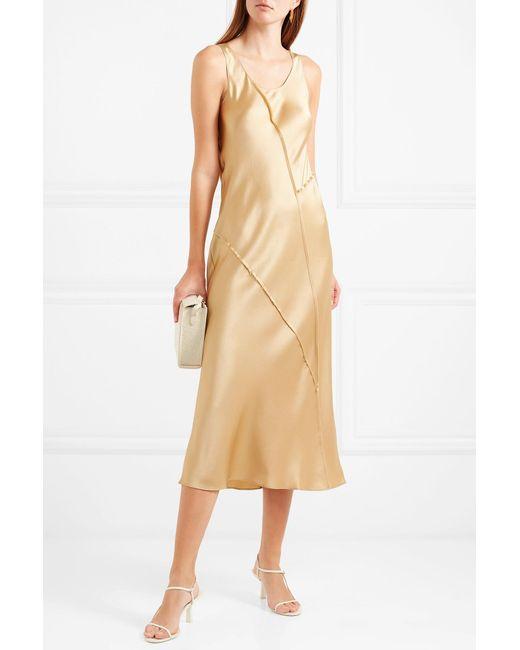 f61279f4fc3 ... Vince - Metallic Paneled Silk-satin Midi Dress - Lyst ...