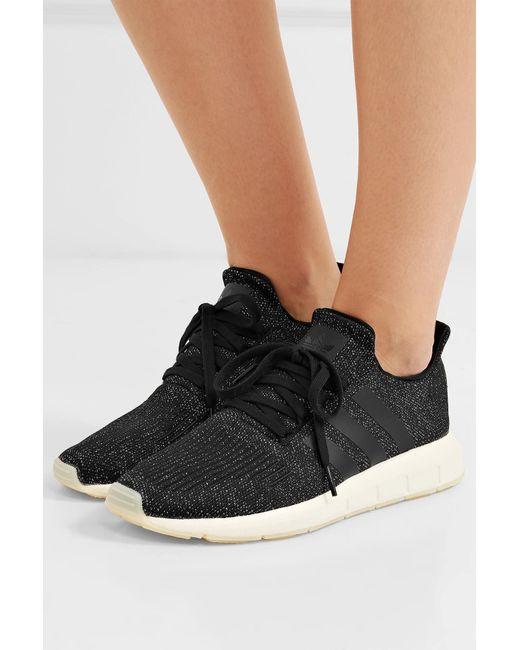 ef0cd8394049 ... Adidas Originals - Black Swift Run Metallic Primeknit Sneakers - Lyst  ...