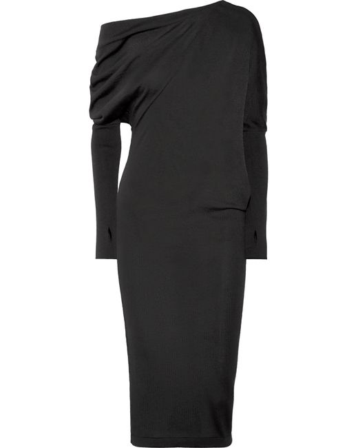Tom Ford - Black One-shoulder Cashmere And Silk-blend Midi Dress - Lyst