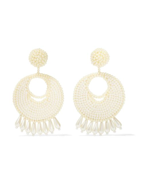 Kenneth Jay Lane | White Faux Pearl Beaded Earrings | Lyst