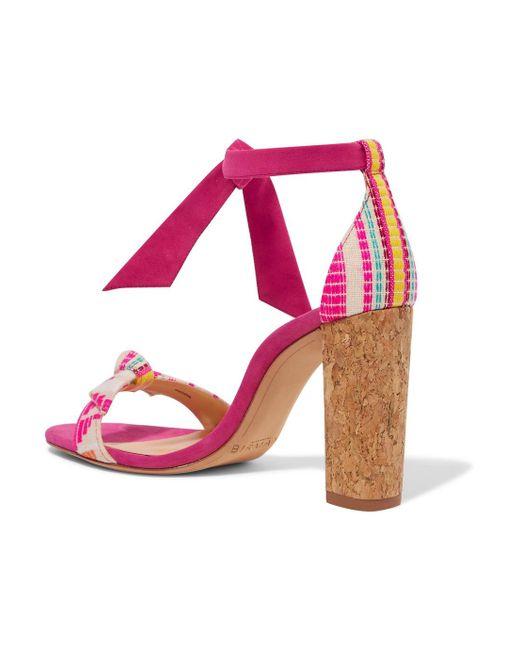 Clarita Bow-embellished Jacquard And Suede Sandals - Fuchsia Alexandre Birman iSmYyiG