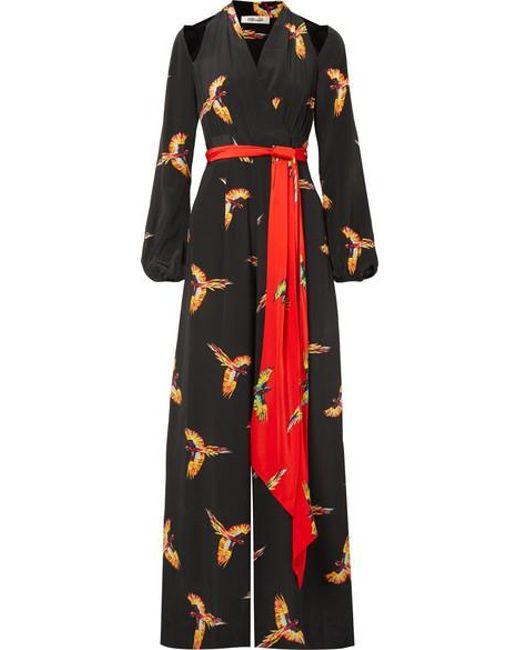 87c1766352 Diane von Furstenberg - Black Cutout Belted Printed Silk Crepe De Chine  Jumpsuit - Lyst ...