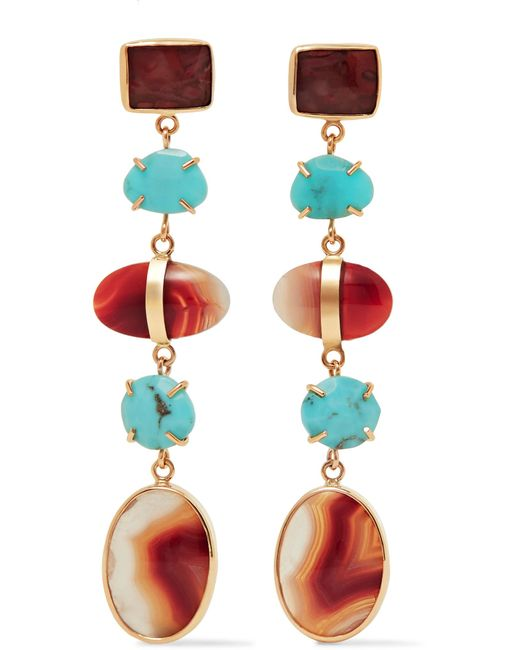 Melissa Joy Manning | Metallic 14-karat Gold, Turquoise And Agate Earrings | Lyst