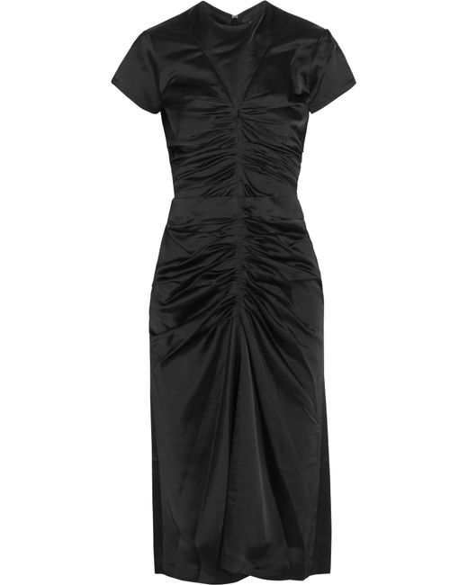 Isabel Marant   Black Else Ruched Satin Midi Dress   Lyst