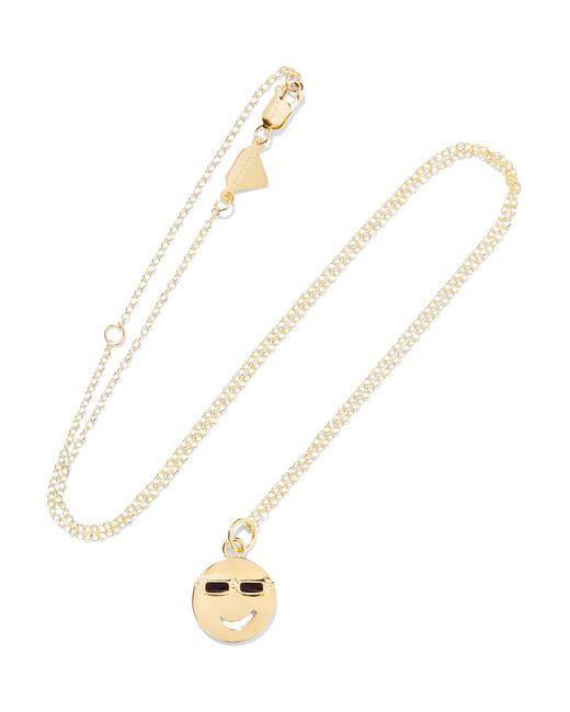 Alison Lou | Metallic Medium Joe Cool Enameled 14-karat Gold Necklace | Lyst