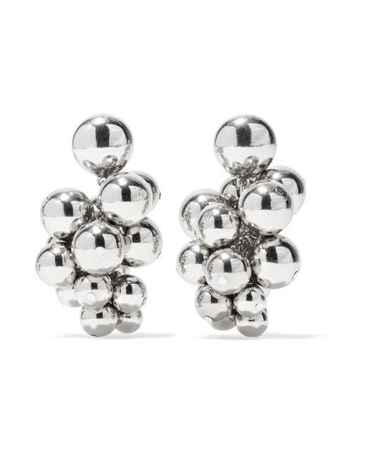 Oscar de la Renta | Metallic Beaded Silver-tone Clip Earrings | Lyst