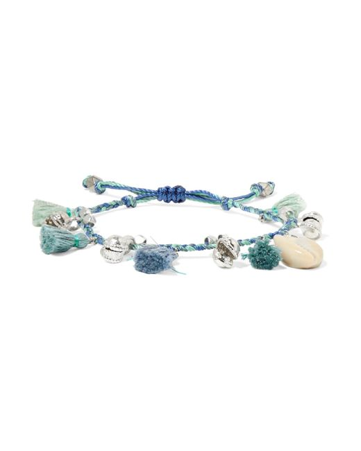 Chan Luu   Blue Tasseled Silver-tone And Shell Bracelet   Lyst