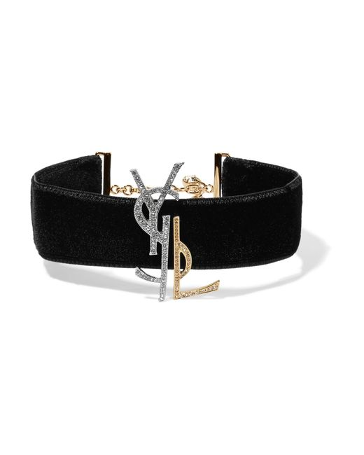 Saint Laurent | Black Velvet, Gold And Silver-tone And Crystal Choker | Lyst