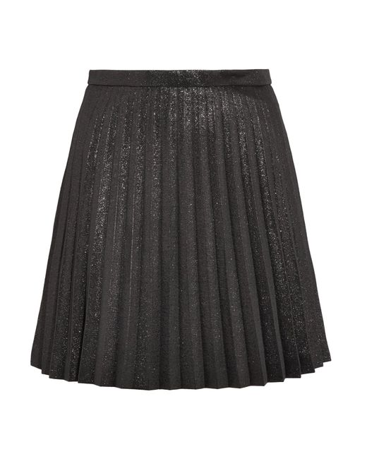 J.Crew - Black Sweetbriar Pleated Cotton-blend Lamé Mini Skirt - Lyst