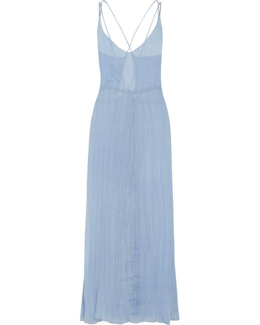 Cloe Cassandro | Blue Bailey Polka-dot Silk-chiffon Maxi Dress | Lyst