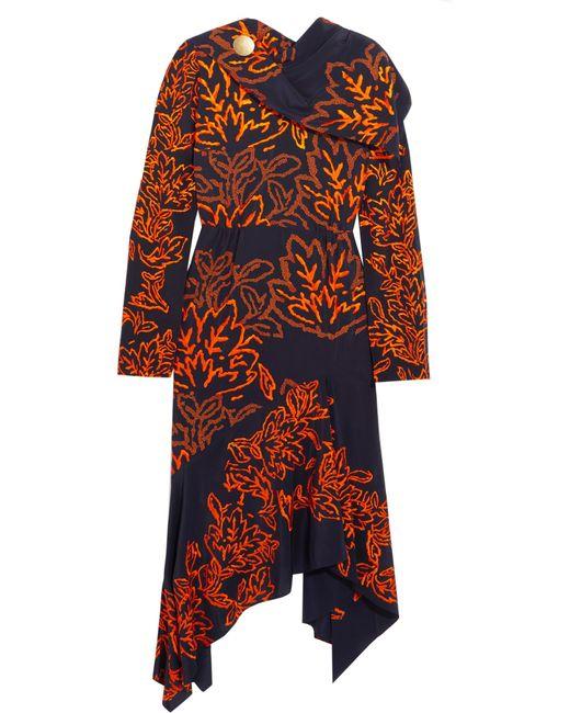 Peter Pilotto   Blue Silk Embroidered Dress   Lyst