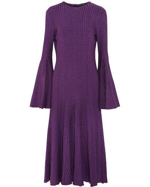 Ellery   Purple Conrad Ribbed Stretch-knit Midi Dress   Lyst