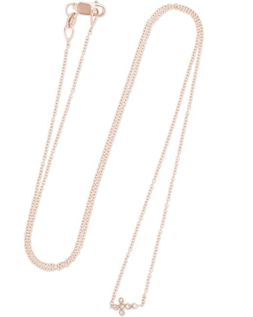 Ileana Makri | Metallic Mini Cross 18-karat Rose Gold Diamond Necklace | Lyst