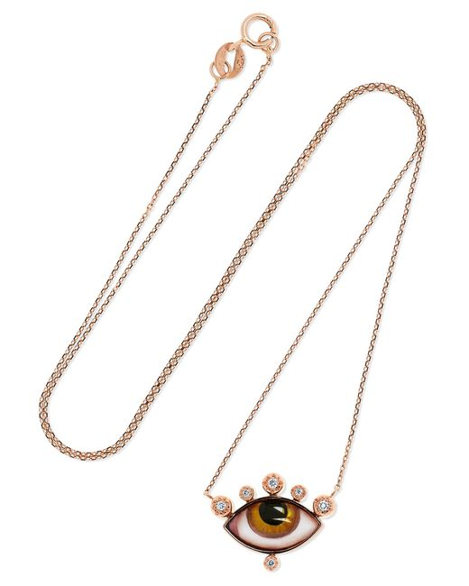 Lito - Metallic Tu Es Partout 14-karat Rose Gold, Enamel And Diamond Necklace - Lyst