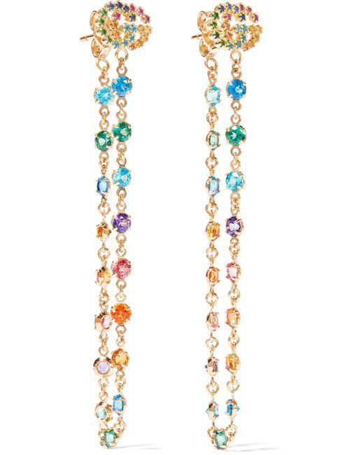Gucci | Metallic 18-karat Gold Multi-stone Earrings | Lyst