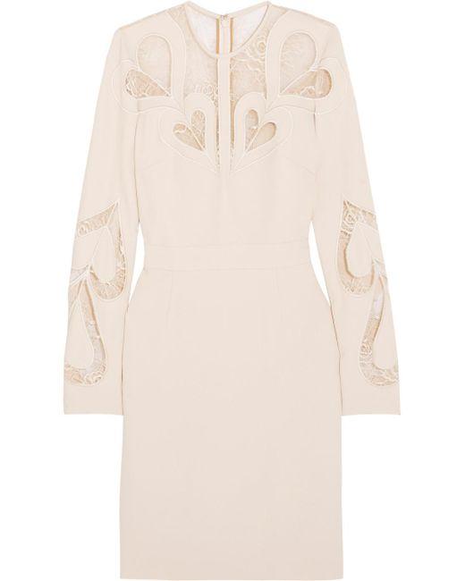 Elie Saab - White Lace-paneled Crepe Dress - Lyst