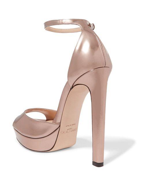9ed0dba0149 ... Jimmy Choo - Pattie 130 Metallic Leather Platform Sandals - Lyst ...