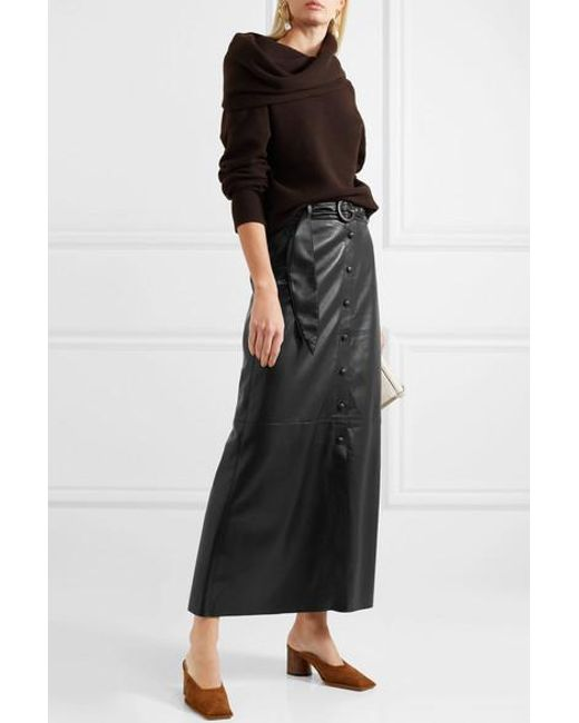 211c0199f2 ... Nanushka - Black Ayona Belted Vegan Leather Maxi Skirt - Lyst ...