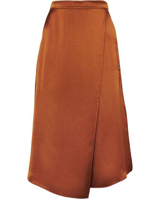 Vince - Brown Asymmetric Wrap-effect Silk-satin Skirt - Lyst
