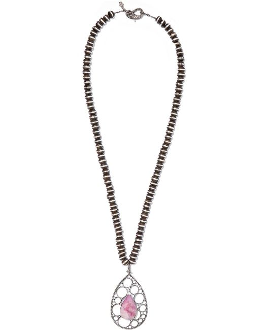 Loree Rodkin - Metallic 18-karat Rhodium White Gold, Wood, Sapphire And Diamond Necklace White Gold One Size - Lyst