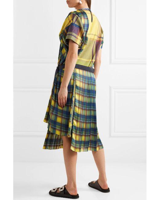 Asymmetric Cotton-blend Midi Dress - Yellow sacai FKnU4
