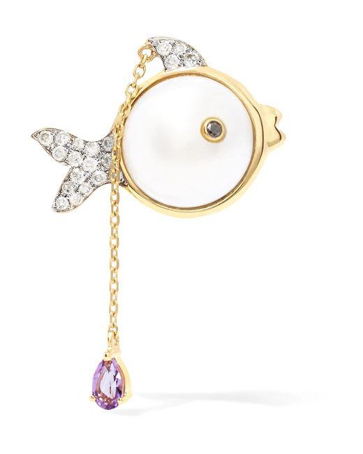 Yvonne Léon - Metallic 18-karat Gold Multi-stone Earring - Lyst