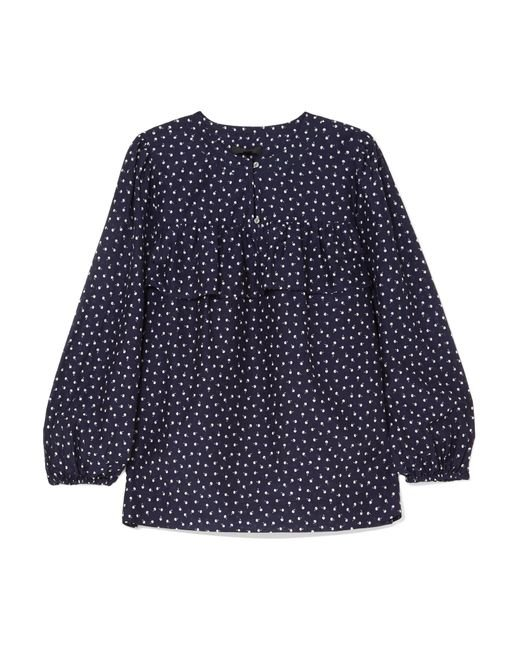 J.Crew | Blue Dorito Printed Cotton And Silk-blend Voile Blouse | Lyst
