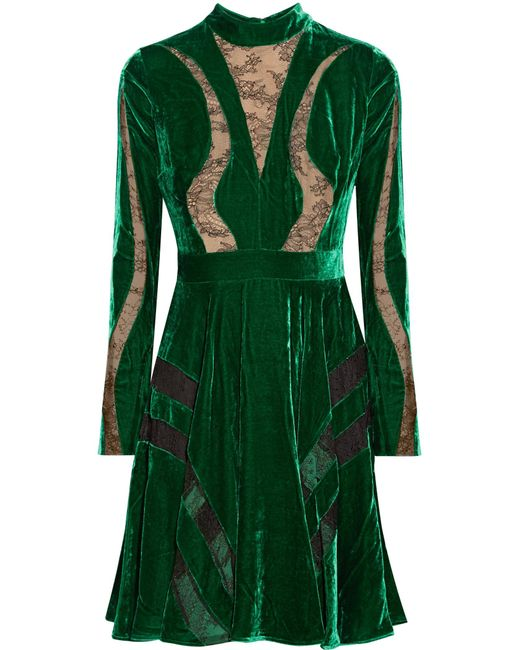 Elie Saab   Green Lace-paneled Crushed-velvet Dress   Lyst