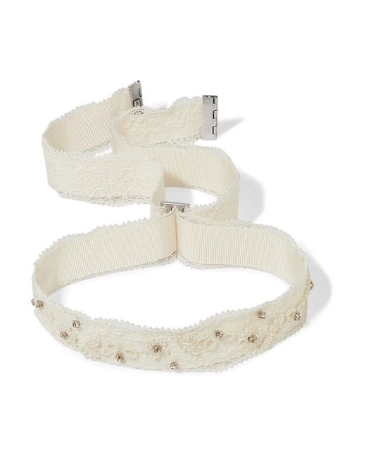 Etro - White Embellished Lace And Grosgrain Choker - Lyst