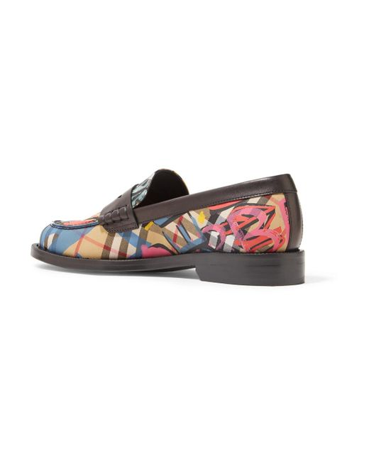 Leather-trimmed Printed Canvas Loafers - Black Burberry Clearance For Nice Free Shipping 2018 Newest Buy Cheap Shop KWpdIkbzD