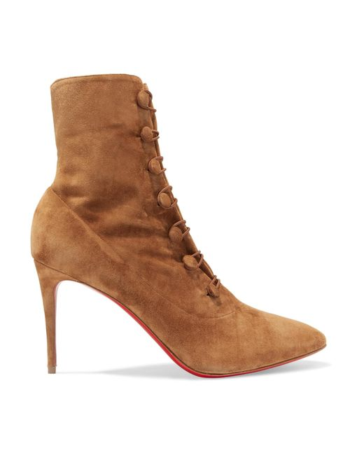 Christian Louboutin - Brown French Tutu 85 Suede Ankle Boots - Lyst