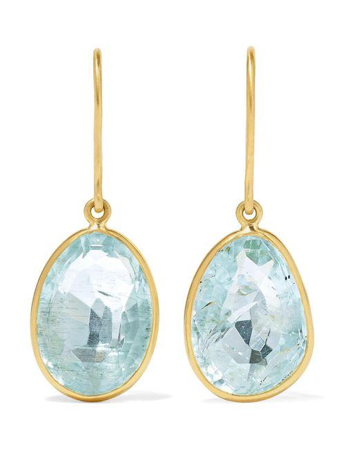Pippa Small - Metallic 18-karat Gold Aquamarine Earrings Gold One Size - Lyst