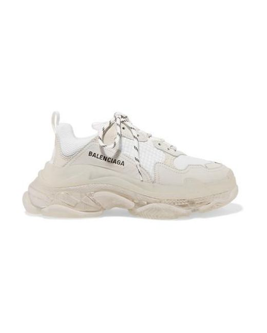 Balenciaga - White Triple S Clear Sole Logo-embroidered Leather, Nubuck And Mesh Sneakers - Lyst