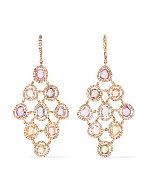 Amrapali - Metallic Blossom 18-karat Gold, Sapphire And Diamond Earrings - Lyst