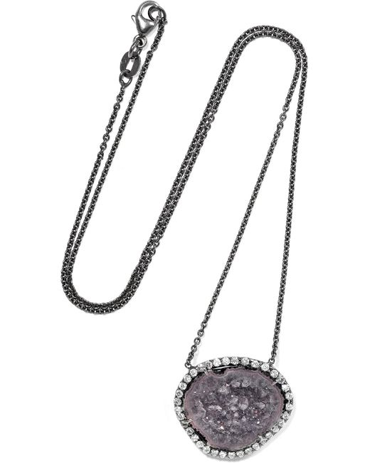 Kimberly Mcdonald - Metallic 18-karat Blackened White Gold, Geode And Diamond Necklace White Gold One Size - Lyst