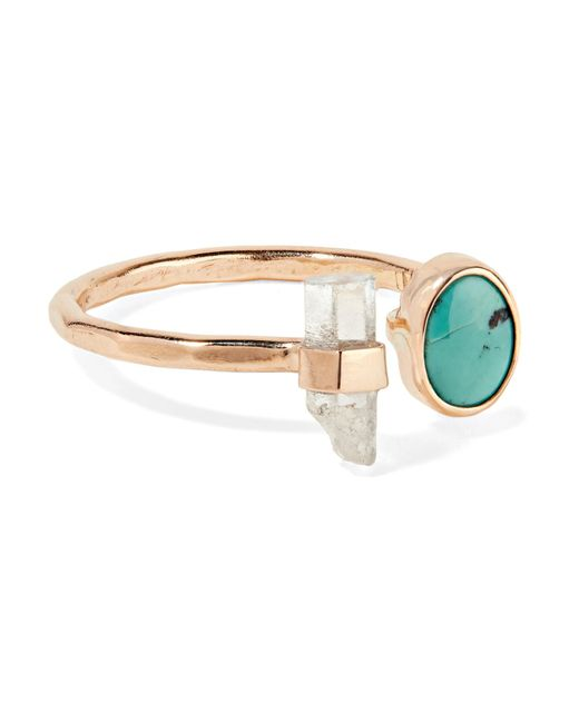 Melissa Joy Manning - Metallic 14-karat Gold, Turquoise And Aquamarine Ring - Lyst