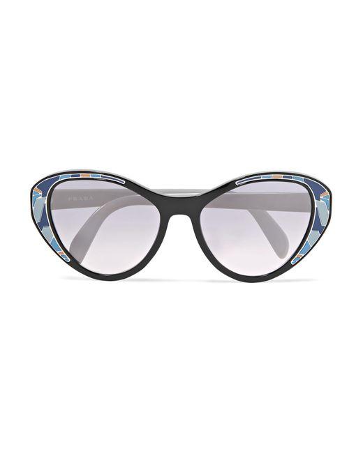 ef43d4ffe0c7 Prada - Blue Cat-eye Acetate Mirrored Sunglasses - Lyst ...