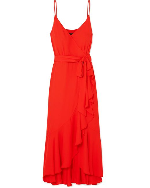 J.Crew - Red Wrap-effect Ruffled Crepe De Chine Midi Dress - Lyst