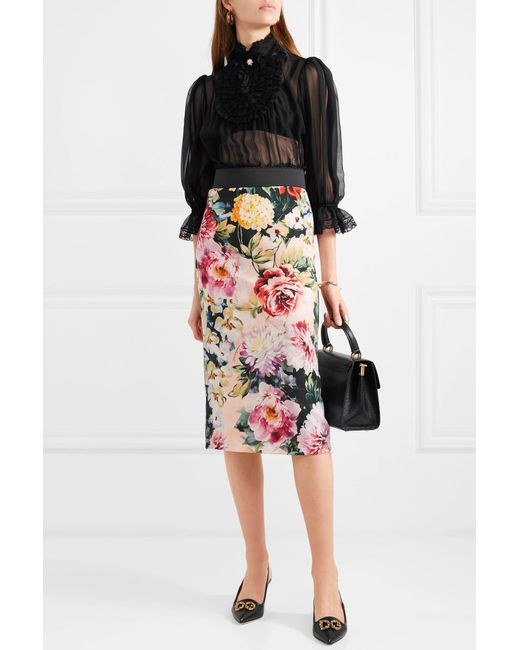 8768b71c2f62 ... Lyst Dolce   Gabbana - White Floral-print Stretch-crepe Skirt ...