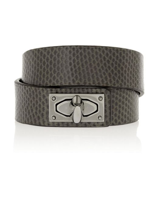 Givenchy | Brown Shark Lock Bracelet In Snake And Ruthenium-tone Brass | Lyst