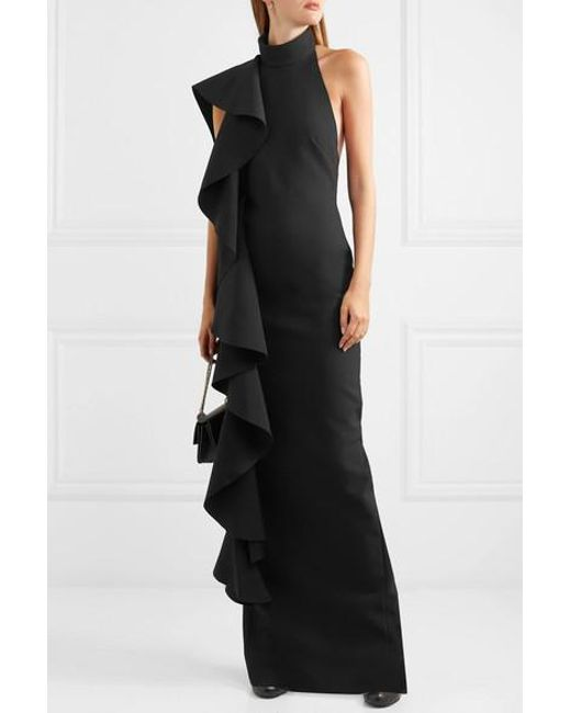 9fd5ee99 ... Solace London - Black Cold-shoulder Draped Ruffled Stretch-crepe Maxi  Dress - Lyst ...