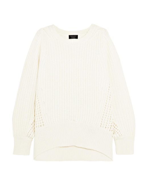 Rag & Bone - Natural Athena Ribbed And Open-knit Cashmere Sweater - Lyst