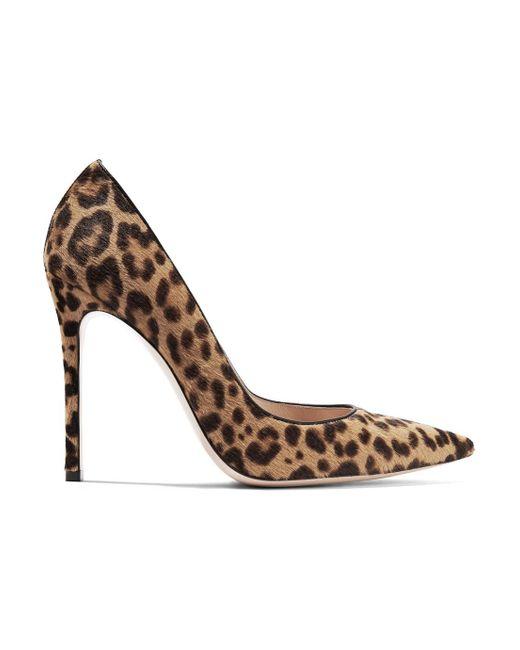 Gianvito Rossi - Blue 100 Leopard-print Calf Hair Pumps - Lyst