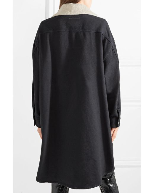 Oversized Faux Shearling-trimmed Cotton-blend Drill Coat - Navy Maison Martin Margiela Really New Styles 4BIYN