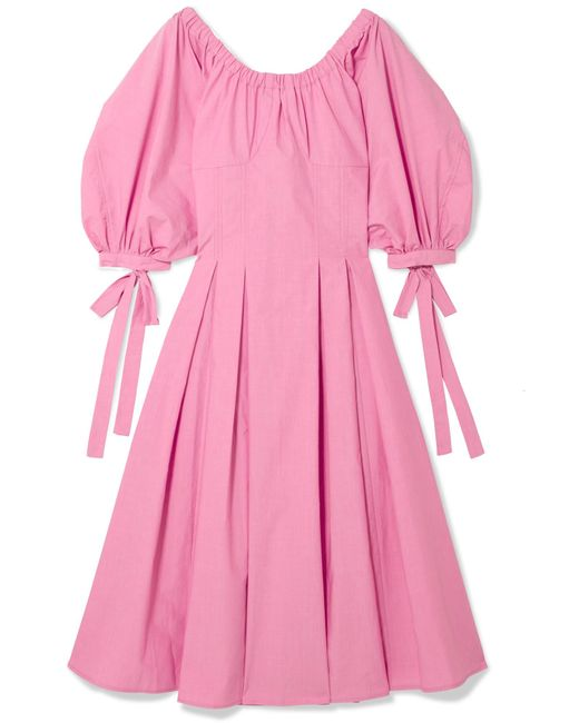 Rejina Pyo - Pink Greta Bow-embellished Cotton Midi Dress - Lyst