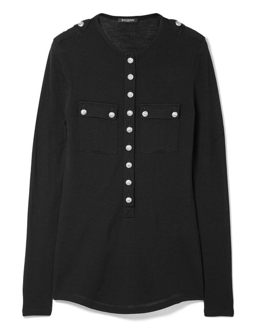 Balmain | Black Button-detailed Wool And Cashmere-blend Top | Lyst