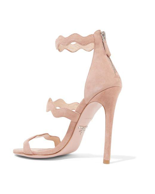 95cee6cf9cc ... Prada - Natural 115 Scalloped Suede Sandals - Lyst ...